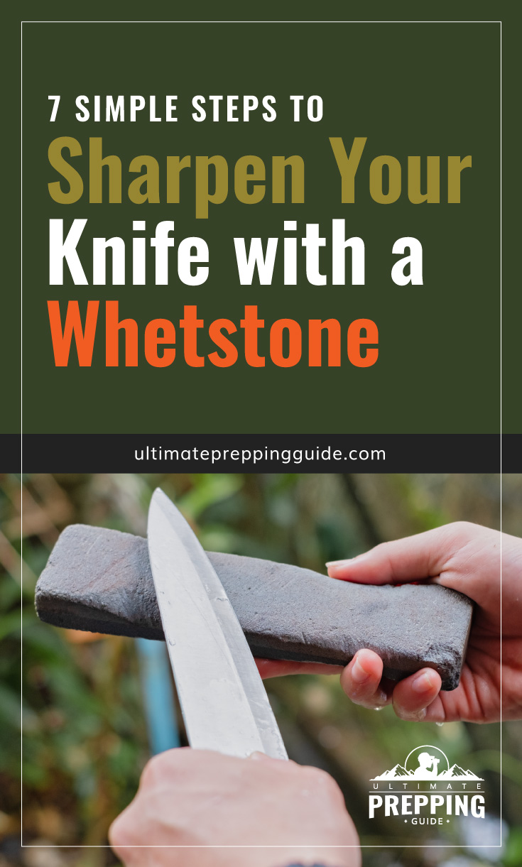 """Text area which says """"8 Simple Steps to Sharpen Your Knife with a Whetstone, ultimatepreppingguide.com"""" followed by a photo of a knife being sharpened by a whetstone"""