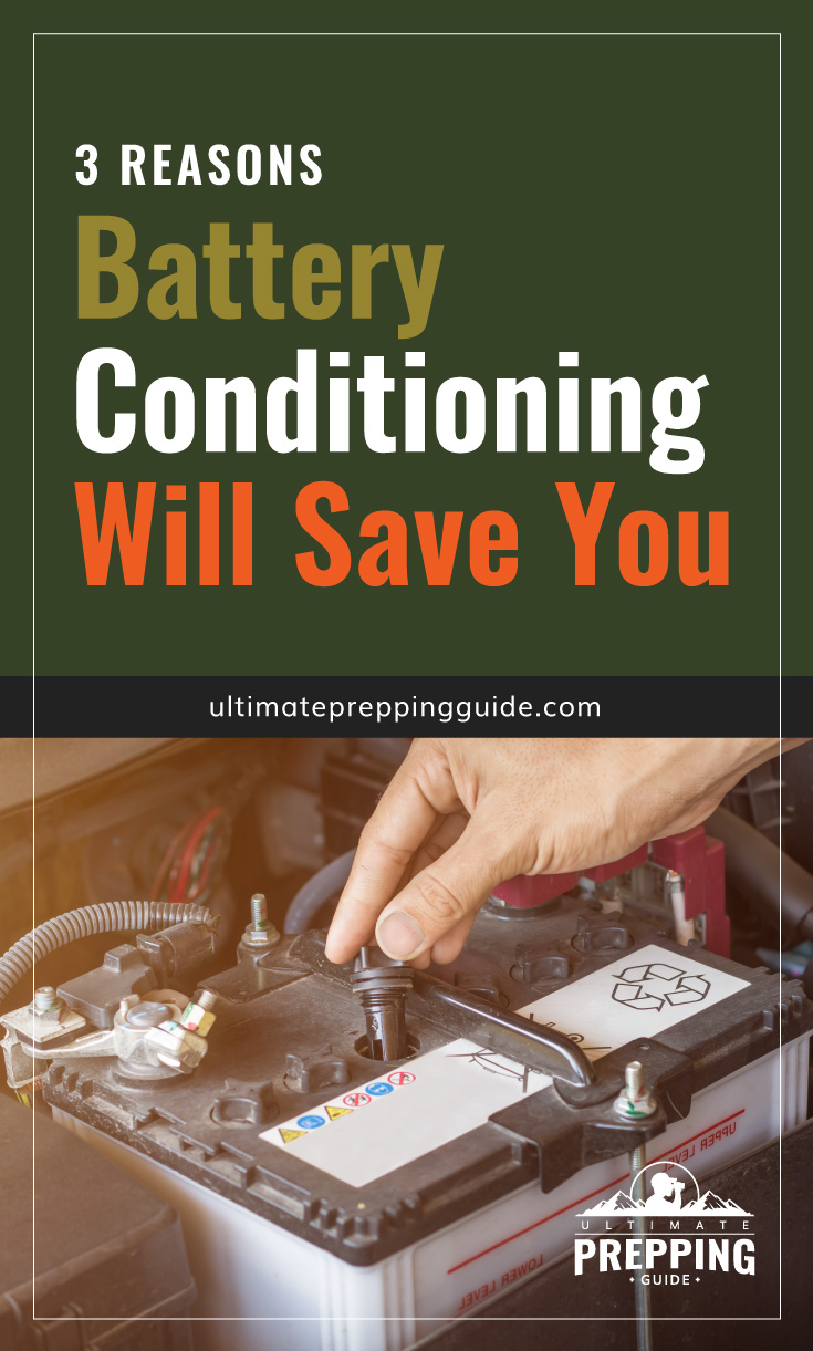 """Text area which says """"3 Reasons Battery Reconditioning Will Save You, ultimatepreppingguide.com"""" followed by a close-up photo of a car battery"""