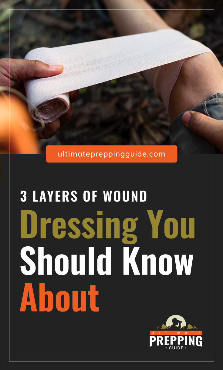 """Text area which says """"3 Layers of Wound Dressing You Should Know About, ultimatepreppingguide.com"""" followed by a photo of a leg being wrapped in a bandage"""